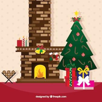 Уютный интерьер рождественский дом с камином