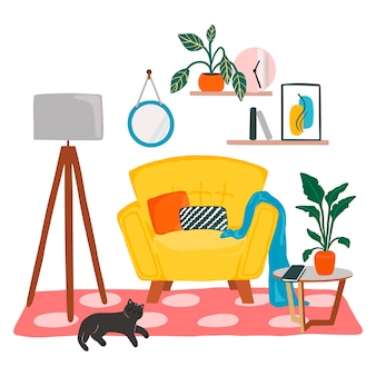 黄色のアームチェア、床ランプ、コーヒーテーブル、カーペット、装飾が施されたリビングルームの居心地の良いインテリア。白い背景で隔離のデザイン要素の中の家。手描きのミニマルなスタイルのイラスト。