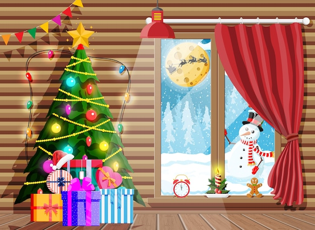Cozy interior of room with christmas tree