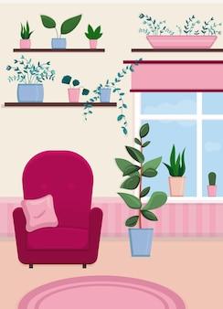 Уютный интерьер с креслом и окном в комнате с разными комнатными растениями полки для растений