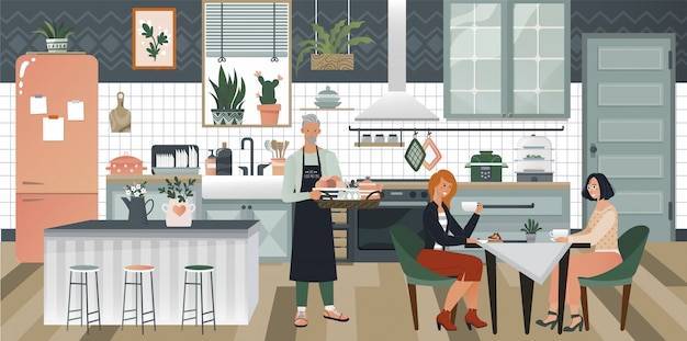 Cozy kitchen interior design with stove, cupboard and dishes, man serving breakfast to two women  hyggie style  illustration.