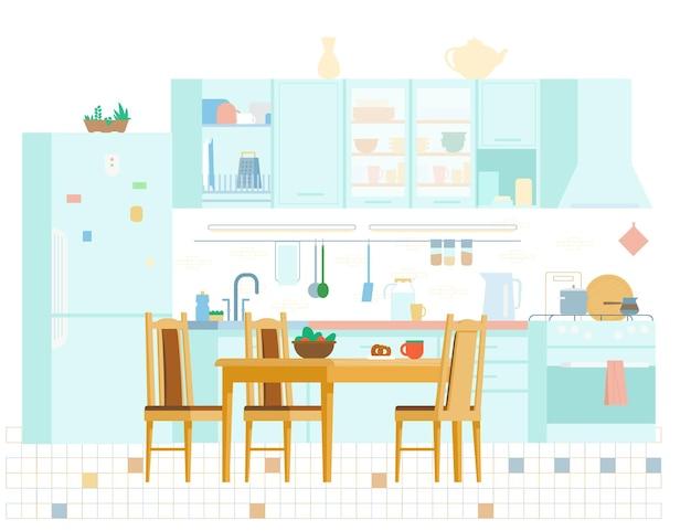 Уютная кухня интерьер плоской иллюстрации
