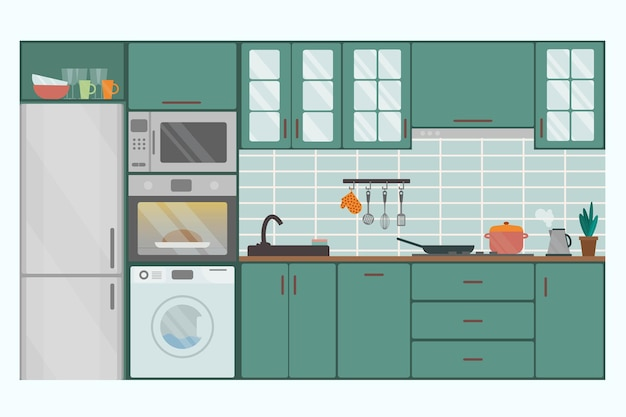 Cozy kitchen interior in green shades