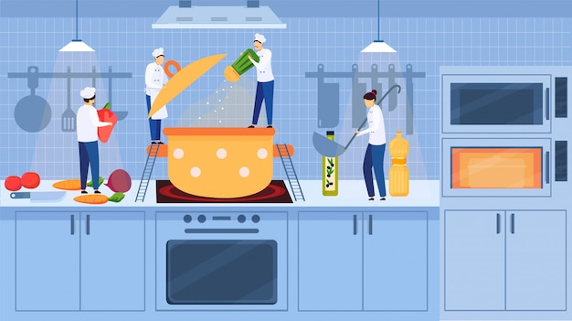 Уютный интерьер кухни с шеф-поварами маленькие люди готовят суп в плите на плите, овощи, иллюстрации шаржа.