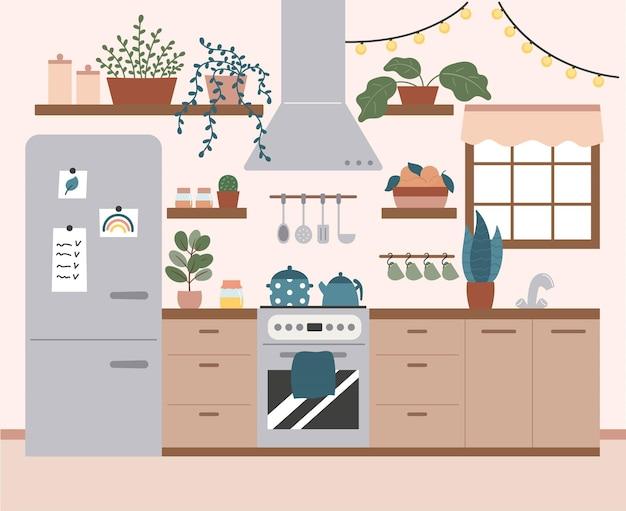 家具、調理器具、鉢植えの植物を備えた居心地の良いキッチンインテリア。