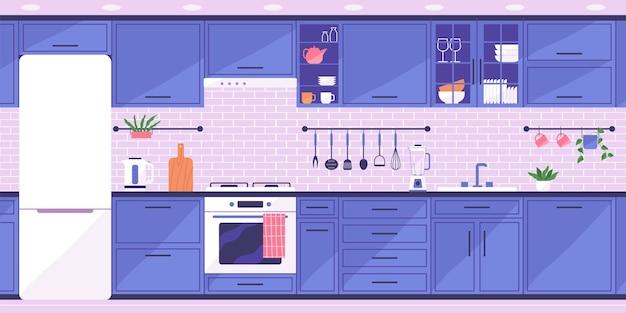 가구가 비치된 아늑한 주방. 현대적인 인테리어입니다. 평면 스타일의 벡터 일러스트 레이 션.