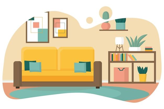 아늑한 거실 디자인 책장과 노란색 소파가 있는 거실