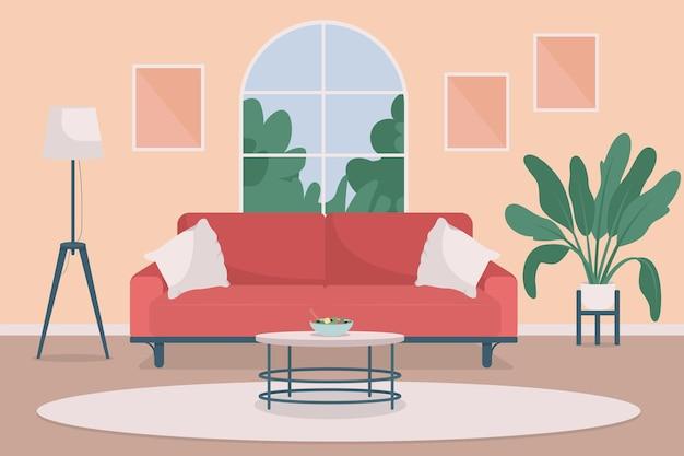 아늑한 거실 평면 색상 그림입니다. 라이프 스타일과 실내 휴식. 주거용 가구
