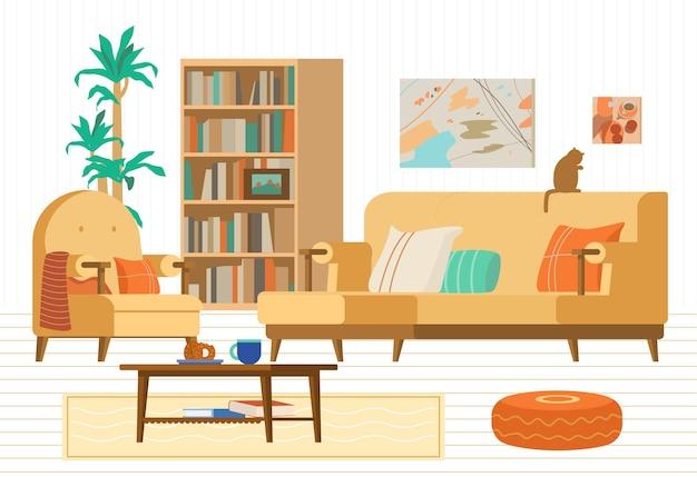 Интерьер уютной гостиной диван книжный шкаф кресло журнальный столик