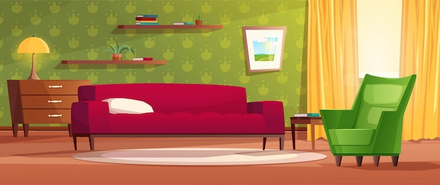 Уютный интерьер гостиной в мультяшном стиле. красный диван, комод, окно с ярким светом от него и желтые шторы, ковер, полки и картина на стене. иллюстрация к игре.