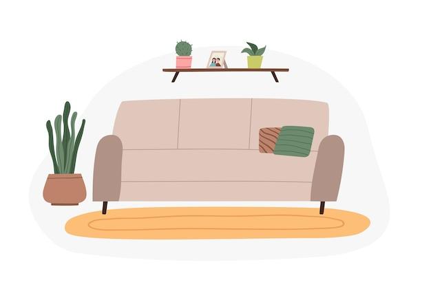 Cozy living room interior sofa home plants decorative elements flat cartoon vector illustration