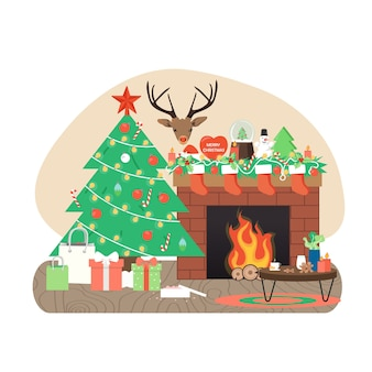 Cozy living room interior with decorated christmas tree, fireplace, gifts, flat vector illustration.