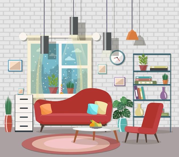 家具と暖炉のある居心地の良いリビング ルームのインテリア フラットなデザイン