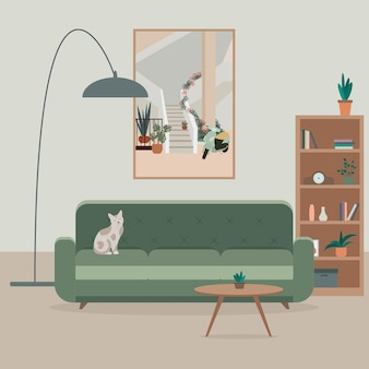 Cozy living room interior with sofa cat lamp table potted plants and a large painting