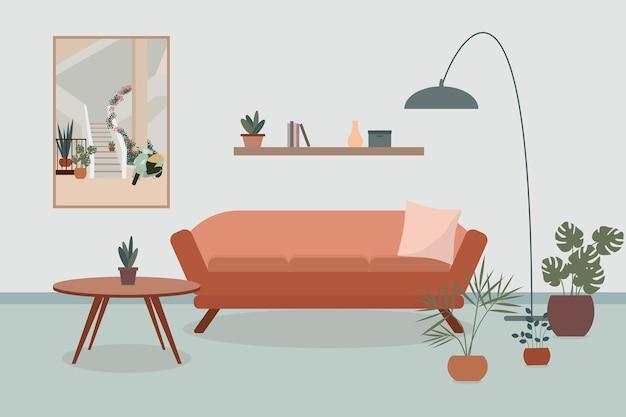 Уютный интерьер гостиной с диваном, настольным светильником и растениями в горшках и большой картиной на стене