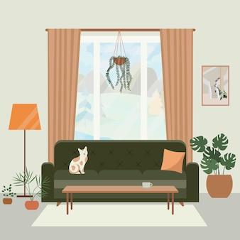 Интерьер уютной гостиной с диваном, большим окном, котом и растениями в горшках