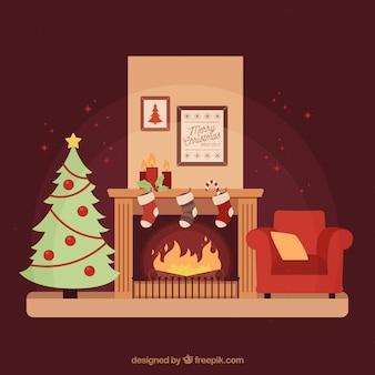 크리스마스 트리와 벽난로가있는 아늑한 거실