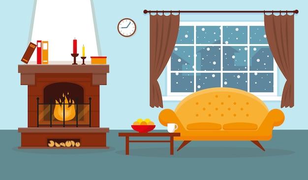 暖炉と家具のある居心地の良いリビングルーム