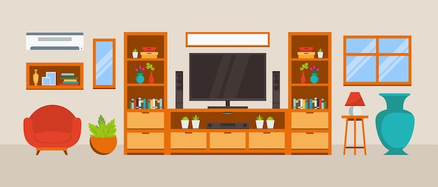 Cozy living room with flat design