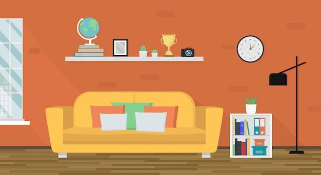 가구가있는 아늑한 거실. 부드러운 노란색 소파, 선반, 플로어 램프 및 창. 인테리어 디자인. 현대 아파트. 홈 테마.