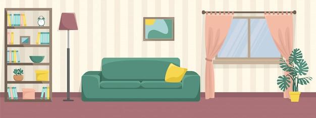 소파와 책장이있는 아늑한 거실. 평평한 인테리어. 파스텔 색상.