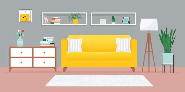 ソファやその他の家具のイラストが描かれた居心地の良いリビングルーム Premiumベクター
