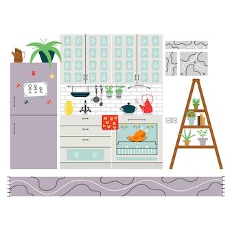 居心地の良いモダンなキッチン。キッチンのユニークなインテリアデザイン。ベクトル編集可能なイラスト