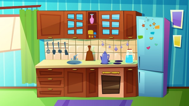 Cozy modern kitchen with household appliances,