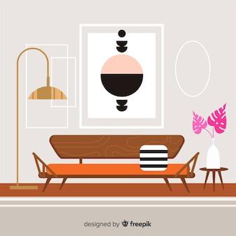 Soggiorno accogliente e moderno con design piatto