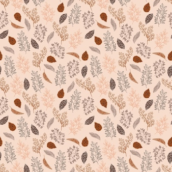 Cozy mood seamless pattern with autumn leaves and pine cone with line doodle hand drawn style