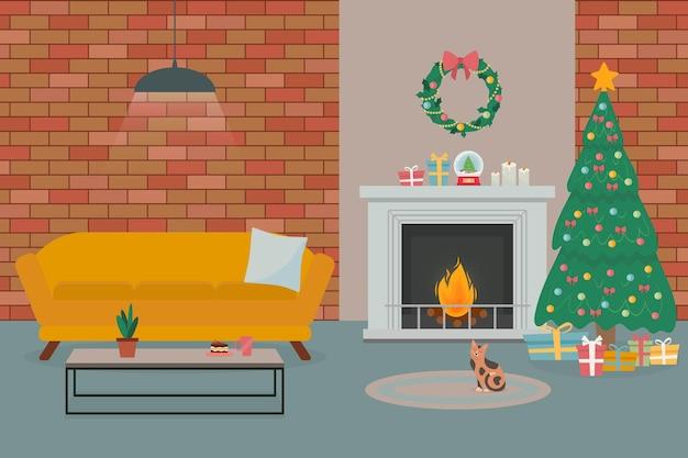 크리스마스 트리 벽난로가 있는 로프트 스타일 거실 인테리어로 장식된 아늑한 새해