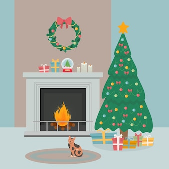 Cozy new year decorated room interior with christmas tree and fireplace