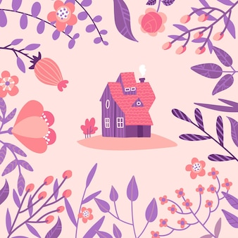 巨大な春の野花に囲まれた居心地の良い古い家。