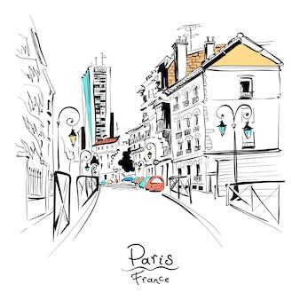 Уютная улица парижа, франция