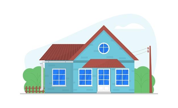 Уютный частный дом. фасад с большими окнами, дверью, коричневая крыша. домашняя архитектура.