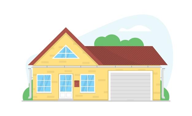 Уютный частный дом. фасад с большими окнами, гаражные ворота, коричневая крыша. домашняя архитектура.