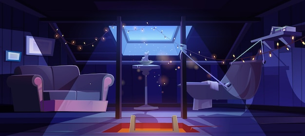 Cozy room on attic with hammock and sofa at night vector cartoon interior of mansard