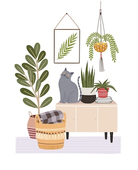 Cozy room interior with cat sitting on cupboard or sideboard and houseplants in pots,