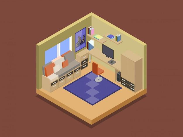 Уютная комната подростка в изометрической векторной иллюстрации