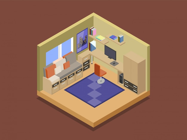 Cozy room of a teenager in isometric vector illustration