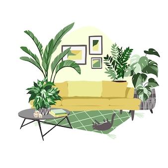 鉢植えの植物がたくさんある居心地の良いスカンジルームのインテリア