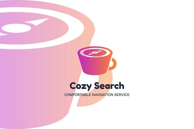 Уютный поиск плоский векторный шаблон логотипа. значок градиента цвета чашки кофе. логотип службы навигации