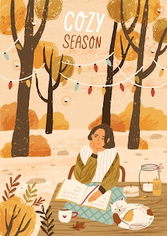 Cozy season hand drawn greeting card template. autumn mood placard, banner layout. young woman enjoying autumn nature illustration with typography. outdoor rest in forest, relaxation park.
