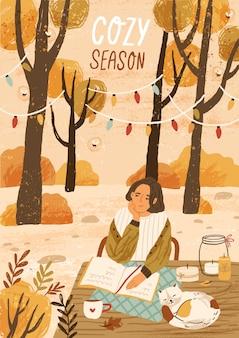 Уютный сезон рисованной шаблон поздравительной открытки. плакат осеннего настроения, макет баннера. молодая женщина, наслаждаясь иллюстрацией природы осени с типографикой. отдых на природе в лесу, парк релаксации.