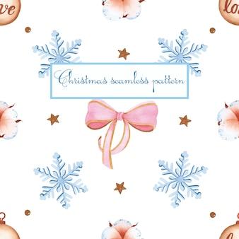 白い背景の上の居心地の良いスノーフレーククリスマスシームレスパターン水彩画