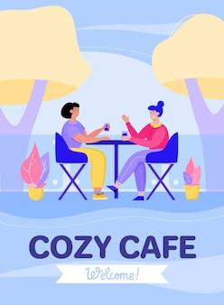 Cozy street cafe card with dining girls, flat cartoon illustration.