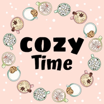 Cozy time decorative wreath of cups of yummy drinks