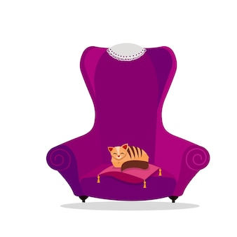 A cozy vintage large purple armchair with a cat sleeping on a pillow.