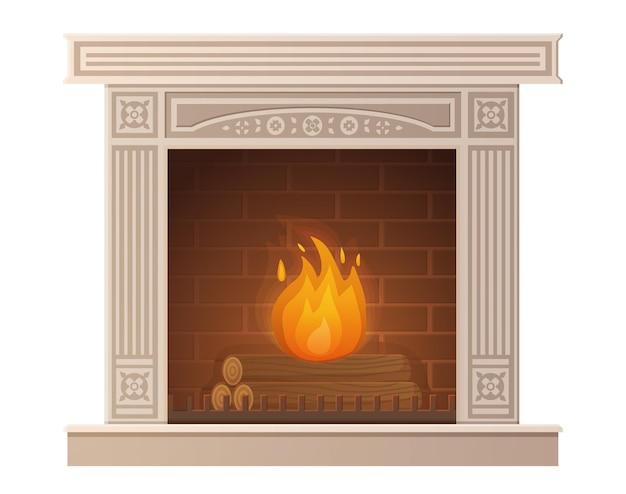 Уютный белокаменный горящий камин в мультяшном стиле