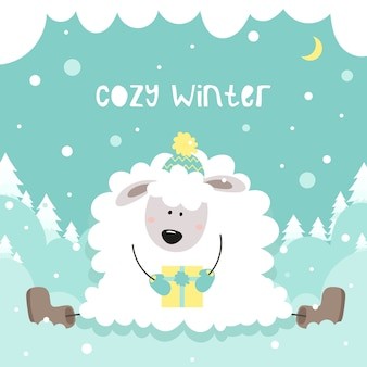 Cozy winter. cute little sheep holds a gift